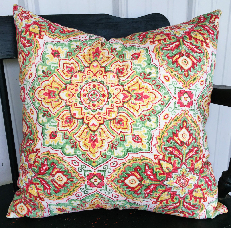 Modern Floral Pillows : Pillow cover 20x20 living room pillows in modern floral green
