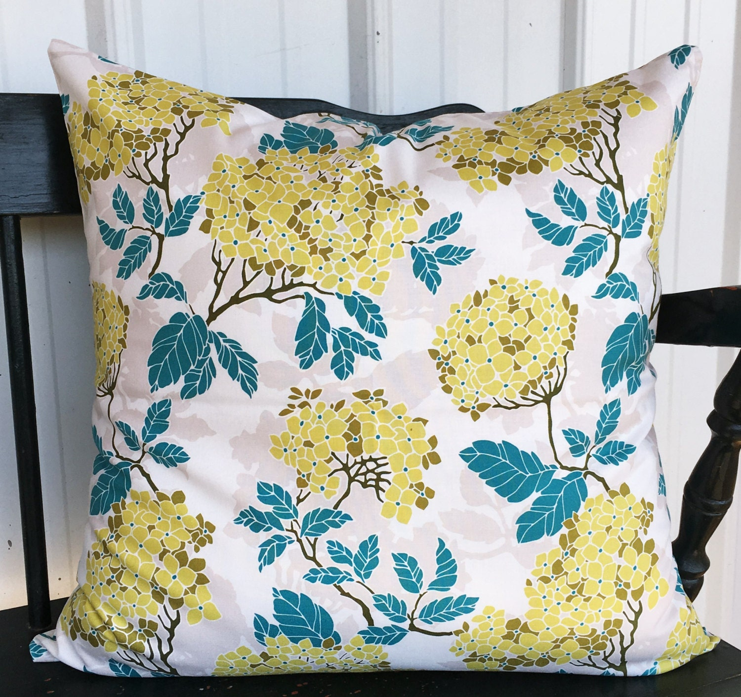 Pillow cover 20x20 Teal Yellow Olive and White Decorative