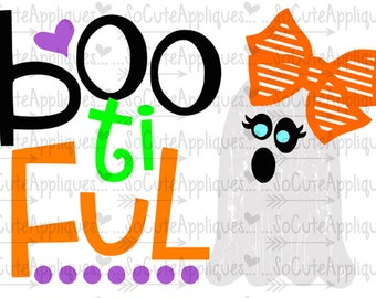 SVG, DXF, EPS cutting file, Boo ti ful ghost svg, Bow Halloween svg, socuteappliques, silhouette file, cameo file, scrapbooking file