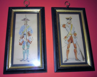 Vintage Continental Soldiers Framed Art, By C & A Richards, Boston Mass, Revolutionary War Art,