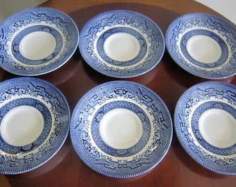 Blue Willow Saucers, Churchill England Saucers, Blue White Saucers, Vintage Saucers, Set of 6