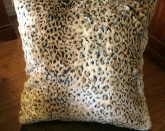 Leopard print pillows, faux fur pillow, faux leopard fur print