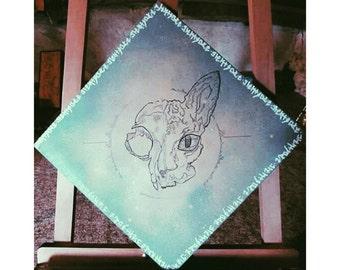 Canvas skull sphynx universe - dotwork / montana / cat /egypte
