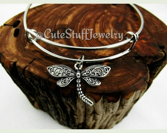 Filigree Dragonfly Bracelet, Dragonfly Bangle, Antique Silver Handmade Dragonfly Jewelry, Insect Bracelet, Boho Bracelet, Trendy Gift