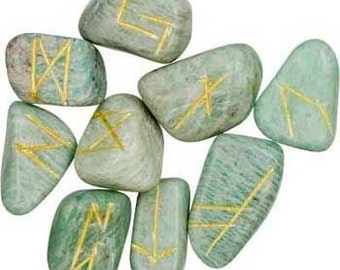 AMAZONITE Runes Set for reiki healing, complete with pouch wicca pagan spirituality rune stones tumbled stones