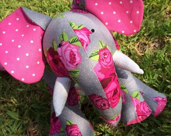 Stuffed Elephant Plushie Gray Pink Rose Polka Dot