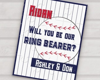 Will you be our ring bearer puzzle - be my ring bearer proposal custom puzzle - ring bearer gift - sport baseball - junior groomsman puzzle