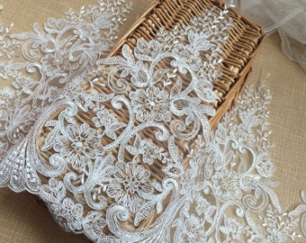 1 Yards Exquisite Ivory Venice lace Trim Aulic Palace Lace Bridal Supplies 12.9 Inches Wide