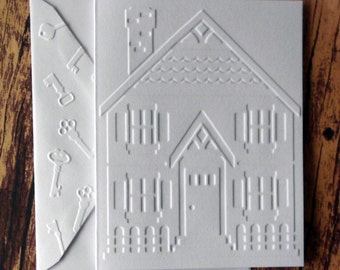House Cards, Set of 5, Moving Cards, We've Moved Cards, New Home Cards, Thank You Hospitality Cards, Gift for Realtors, Embossed House Cards