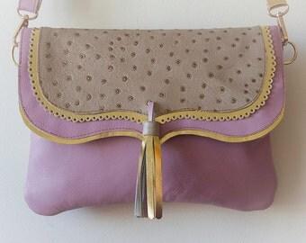 Bag hanger, pink soft & flip ostrich