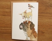 Hand Drawn Card: Boxer, Chihuaha and a zebra finch