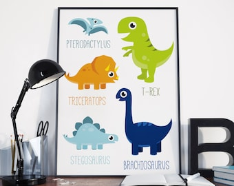 Printable Dinosaur Poster | Dino Poster, Boys Room, Cute Dinosaur, Dinosaur  Wall Art Part 8