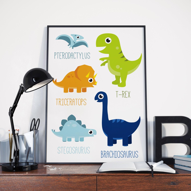 Printable Dinosaur Poster   dino poster, boys room, cute dinosaur, dinosaur  wall art, T-rex poster, dinosaur decor, dinosaur nursery