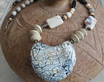 Beige & Black Mosaic  Necklace Set