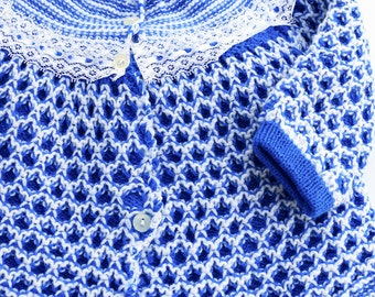 1960s Hand Knitted Blue Sweater Set, 6 Months