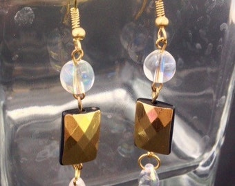 Gold and glass bead earrings