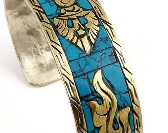 Jewelry Tibetan BRACELET Buddhist dorje vajra bhb35.8 turquoise Bangle bracelet