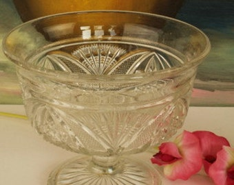 Footed Pressed Glass Sugar Bowl
