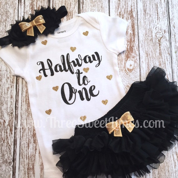 Halfway To One 6 Month Baby Girl Outfit Tutu Bloomers