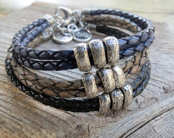 Men Bracelet - Men Leather Bracelet - Men Beaded Bracelet - Men Cuff Bracelet - Men Jewelry - Men Gift - Boyfriend Gift - Husband Gift
