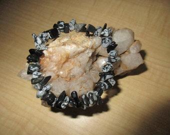 Snowflake Obsidian Chip Bead Stretch Bracelet