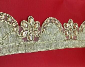 Fancy Diamante Beaded Gold  Indian Lace Trim 3.5 cm wide Ethnic Ribbon Craft Sari Border. Trim by  1 Yard