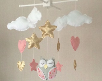 Baby mobile - Baby girl mobile - Cot mobile - Owl, clouds, hearts and stars mobile - Cloud Mobile - Nursery Decor - gold and pink.