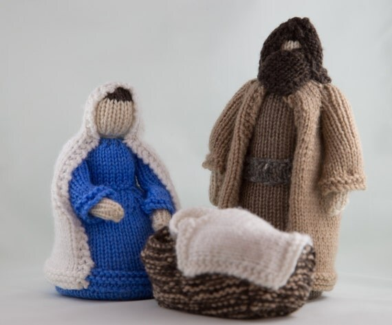 Knitting Patterns Christmas Figures : Knitted Nativity Set // Christmas
