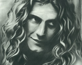 Charcoal Drawing of Robert Plant (Print)