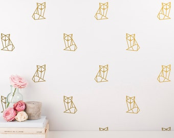 Geometric Fox Decals - Fox Wall Decal Set, Nursery Decals, Nursery Decor, Wall Stickers, Geometric Wall Decal, Gold Vinyl Decals