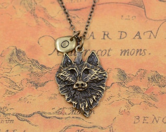 Retro bronze wolf necklace,wolf head necklace,animal necklace,Fashion jewelry,friendship gift