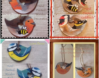 Love Bees Birds & Bees Hand Painted Decoration Choice Of Designs