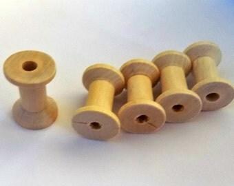 5 Natural Color Wooden Spools - Thread Spools - Wood Sewing Thread Craft Supplies