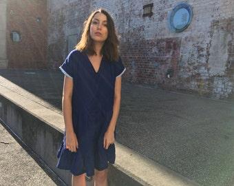 Tiered Linen Dress - Indigo Linen Dress - Loose Linen Dress - Linen Sundress - Blue Linen Dress - Gathered Linen Dress - Knee Length Dress