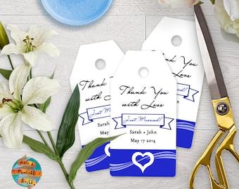 Thank You Tag, blue heart, customizable, wedding, printable, digital file