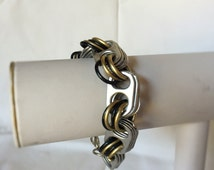 Chunky retro Grunge Coke SODA Pop Pull Tab Tri Tone Black Gold & Silver Wide Chain link Cuff Wrap Around Bangle Bracelet