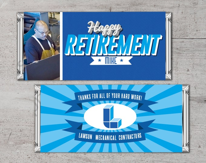Retirement Candy Bar Wrapper, Digital File,Candy Bar, co-worker,gift, retirement party, party favor, gift, thank you, corporate, promo