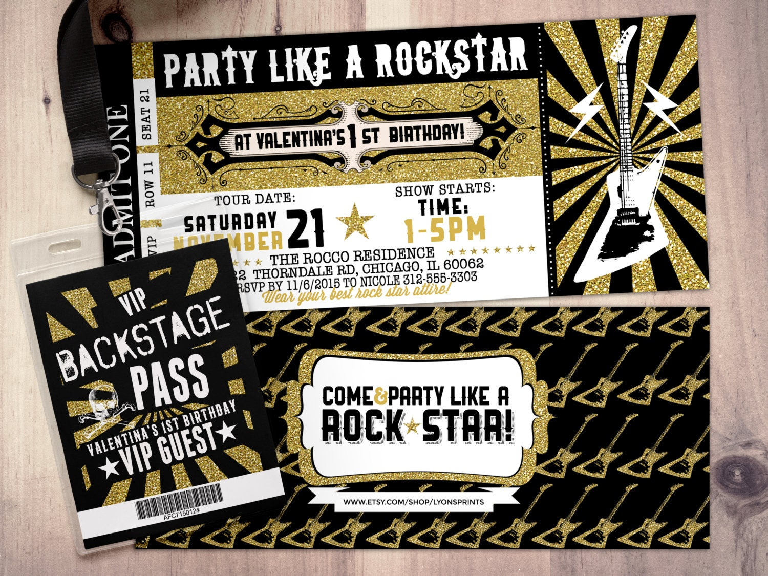 ROCK STAR concert ticket birthday party invitation Music – Concert Ticket Birthday Invitations