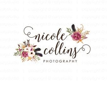 Photography logo premade logo design flower logo boutique logo floral design logo watercolor logo boho logo
