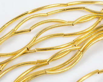 Brushed Gold Copper Curved Tube, All sizes! 8 Inch Strand!