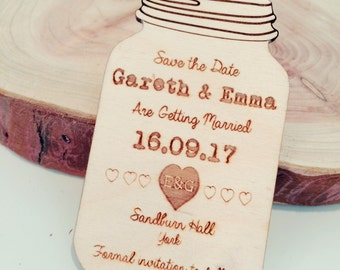 Mason Jar Wedding Save The Dates, Rustic Wedding Save The Date, Magnetic Save the Dates, Laser Engraved Save The Dates