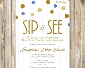 SIP and SEE Invitation, Gold Blue Sip N See Party Invite, Meet and Greet, Baby Boy Shower, Announcement, Diy Printable Digital