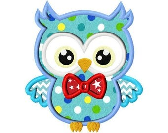 Boy Owl Applique Design dst, exp, hus, jef, pes, sew, vip, vp3, Formats Digital INSTANT DOWNLOAD