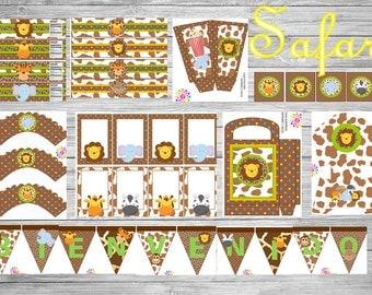 Safari!!!Printable party set!!!DIY!!!Digital!!!