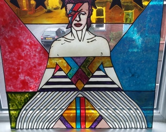 David bowie hand stained glass