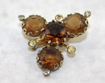 Vintage Amber Rhinstone Brooch Item 51