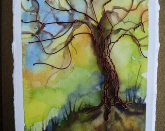 Tangled Tree Art Card Original Watercolour Mixed Media with Wire