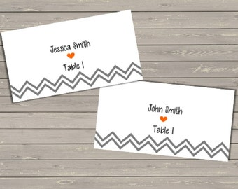 Chevron Wedding Reception Place Cards - Printable File