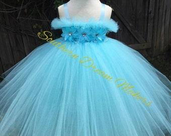 Flower girl tutu, Baby Flower girl tutu dress, Baby flower girl dress, Blue Flower girl dress, Blue flower girl tutu, Country Wedding dress
