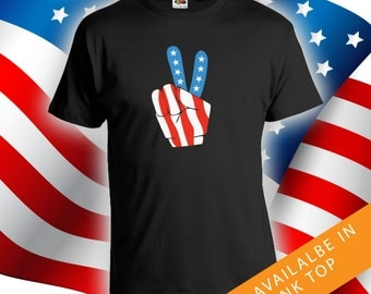 Fourth of July Peace Sign - men women merica t-shirt, 4th of july t-shirt,fourth of july party shirt, summer shirt, red white blue CT-484